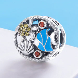 Real 925 Sterling Silver The Undersea World Fish Tortoise Charm Beads fit Women Bracelets & Necklaces DIY Jewelry SCC683