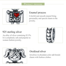 Load image into Gallery viewer, Authentic 925 Sterling Silver I Love Dad Mom Lovely Girl Charm Pendant fit Charm Bracelet & Necklaces Jewelry SCC690