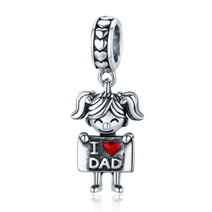 Authentic 925 Sterling Silver I Love Dad Mom Lovely Girl Charm Pendant fit Charm Bracelet & Necklaces Jewelry SCC690