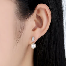 Load image into Gallery viewer, 925 Sterling Silver Stud Earrlings with Dangle Shell Pearl CZ Gems for Women SCE006