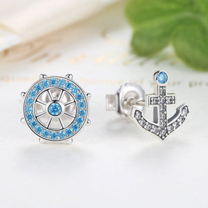 Popular 100% 925 Sterling Silver Anchor & Rudder Blue Crystals Stud Earrings Women Fashion Boat Element Jewelry  SCE030