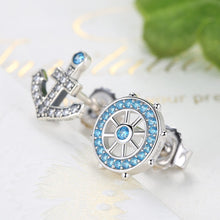Load image into Gallery viewer, Popular 100% 925 Sterling Silver Anchor & Rudder Blue Crystals Stud Earrings Women Fashion Boat Element Jewelry  SCE030