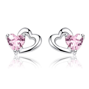 925 Sterling Silver Double Heart to Heart Pink CZ Stud Earrings for Women Fine Jewelry SCE090
