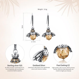 925 Sterling Silver Lovely Orange Bee Animal Drop Earrings for Women Fine Jewelry Gift SCE149