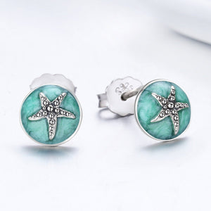 100% 925 Sterling Silver Fantasy Starfish Round Small Stud Earrings for Women Clear CZ Fashion Earrings Jewelry SCE205