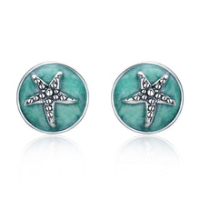 Load image into Gallery viewer, 100% 925 Sterling Silver Fantasy Starfish Round Small Stud Earrings for Women Clear CZ Fashion Earrings Jewelry SCE205