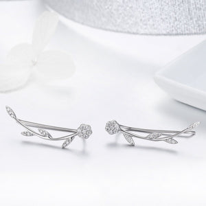 Authentic 925 Sterling Silver Clear CZ Flower Tree Leaves Drop Earrings for Women Fine Silver Earrings Jewelry SCE266