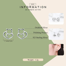Load image into Gallery viewer, Authentic 925 Sterling Silver Cute Cat Small Stud Earrings for Women Fashion Sterling Silver Jewelry SCE271