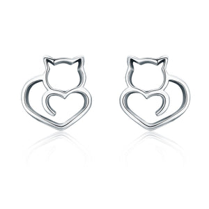 Authentic 925 Sterling Silver Cute Cat Small Stud Earrings for Women Fashion Sterling Silver Jewelry SCE271