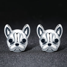 Load image into Gallery viewer, 100% 925 Sterling Silver Loyal Partners French Bulldog Dog Animal Small Stud Earrings for Women Oorbellen Jewelry SCE283