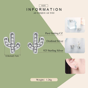 Spring Collection 100% 925 Sterling Silver Clear Cactus Stud Earrings for Women Silver Jewelry SCE286