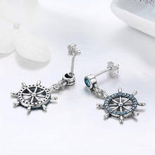 Load image into Gallery viewer, Real 100% 925 Sterling Silver Sailing Dream Blue CZ Anchor Drop Earrings for Women Fashion Silver Jewelry S925 SCE310