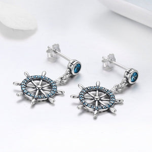 Real 100% 925 Sterling Silver Sailing Dream Blue CZ Anchor Drop Earrings for Women Fashion Silver Jewelry S925 SCE310