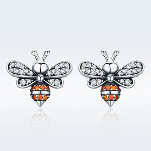 100% 925 Sterling Silver Bee Story Clear CZ Exquisite Stud Earrings for Women Fashion Silver Jewelry SCE344