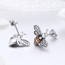 Load image into Gallery viewer, 100% 925 Sterling Silver Bee Story Clear CZ Exquisite Stud Earrings for Women Fashion Silver Jewelry SCE344