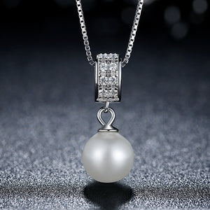 18 inch 925 Sterling Silver Elegance Shell Pearl Necklace Pendant with Clear CZ for Women Wedding Jewelry SCN030