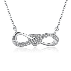 925 Sterling Silver Infinity Heart Necklace 45cm