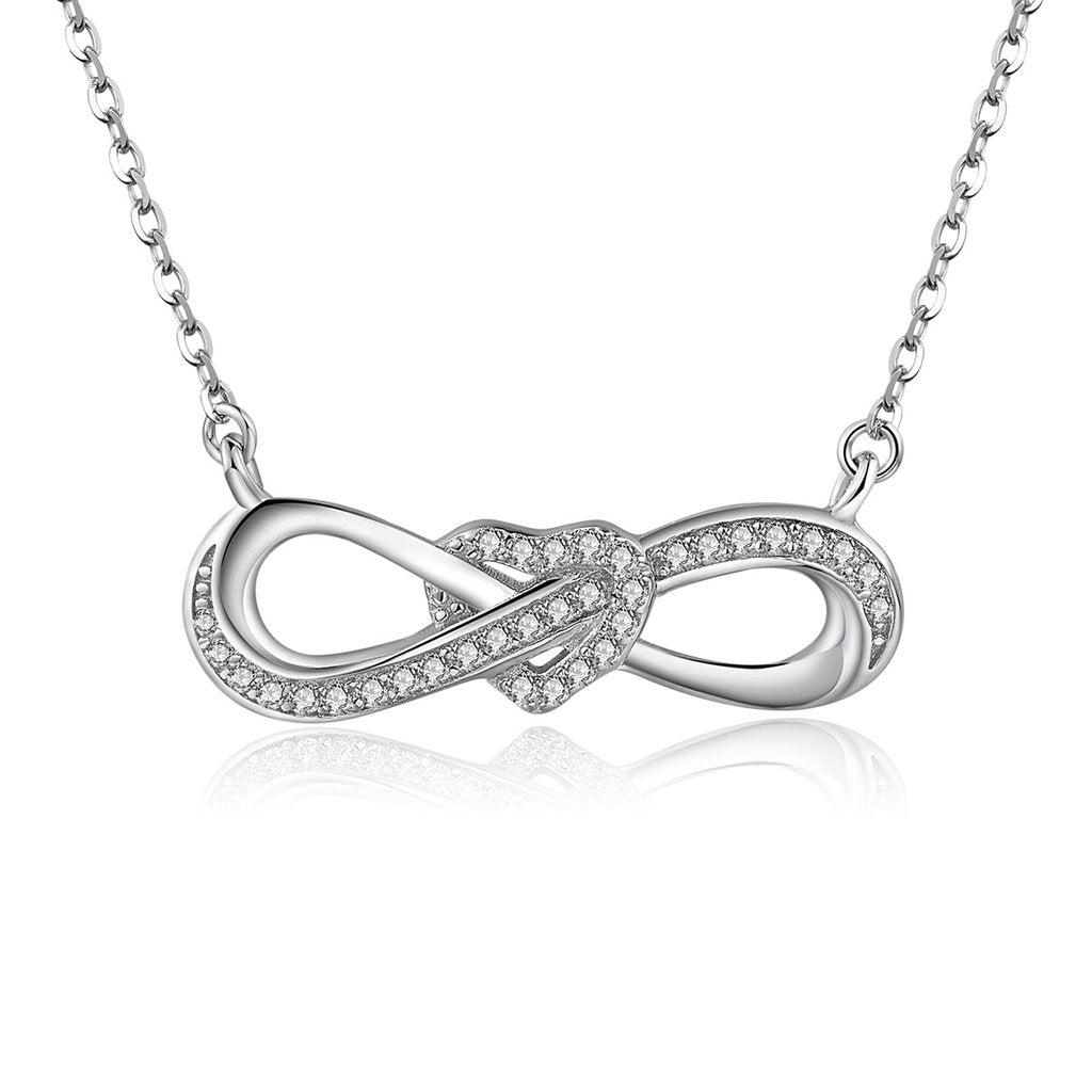 .925 Sterling Silver Infinity Heart Necklace