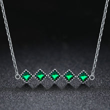 Load image into Gallery viewer, Genuine 100% 925 Sterling Silver Green Crystal CZ Square Pendant Necklace for Women Authentic Silver Jewelry Gift SCN190