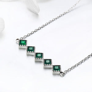 Genuine 100% 925 Sterling Silver Green Crystal CZ Square Pendant Necklace for Women Authentic Silver Jewelry Gift SCN190