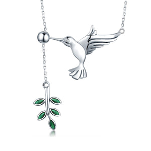 925 Sterling Silver Spring Bird & Tree Leaf Leaves Dangle Pendant Necklace for Women Silver Jewelry SCN217