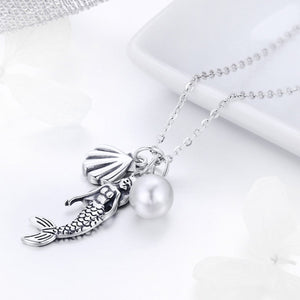 100% 925 Sterling Silver Romantic Mermaid-Legend Shell Pendant Necklaces for Women Sterling Silver Jewelry Gift SCN237