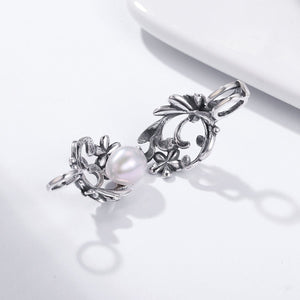 925 Sterling Silver Daisy Flower Tree Leaves Feather Heart Cage Pendant fit Women Chain Necklace Pendant jewelry SCP024