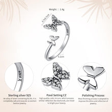Load image into Gallery viewer, 925 Sterling Silver Dazzling Cubic Zircon Butterfly Open Finger Ring for Women Fashion Jewelry Gift SCR087