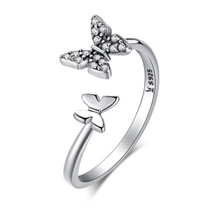 925 Sterling Silver Dazzling Cubic Zircon Butterfly Open Finger Ring for Women Fashion Jewelry Gift SCR087