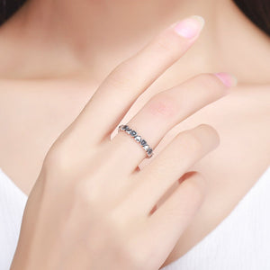 925 Sterling Silver Stackable Ring Heart Black CZ Finger Rings for Women Wedding Anniversary Jewelry Anel SCR140