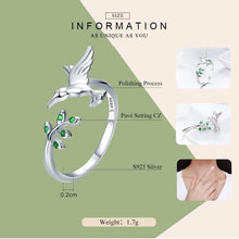 Load image into Gallery viewer, 925 Sterling Silver Bird & Spring Tree Leaves Open Size Finger Rings for Women Sterling Silver Jewelry SCR323