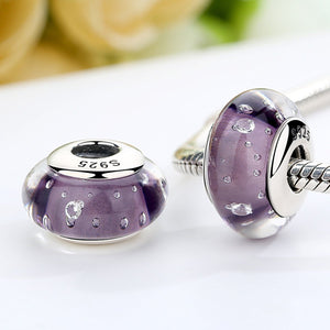 925 Sterling Silver Purple Murano European Glass Beads Fit DIY Bracelets Necklace Beads & Jewelry Makings SCZ001
