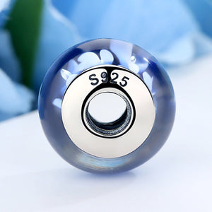 Popular 925 Sterling Silver Blue Plum Flower Pattern European Murano Glass Beads Charms Fit Bracelets & Bangles SCZ006