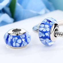 Load image into Gallery viewer, Popular 925 Sterling Silver Blue Plum Flower Pattern European Murano Glass Beads Charms Fit Bracelets & Bangles SCZ006