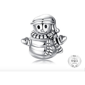 925 Sterling Silver Plain Snowman Christmas Pandora Compatible Bead Charm