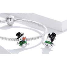 Load image into Gallery viewer, 925 Sterling Silver Colourful Snowman Christmas Pandora Compatible Bead Charm