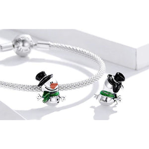 925 Sterling Silver Colourful Snowman Christmas Pandora Compatible Bead Charm