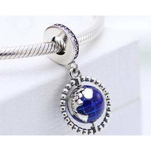 925 Sterling Silver Spinning Globe Pandora Compatible Dangle Charm