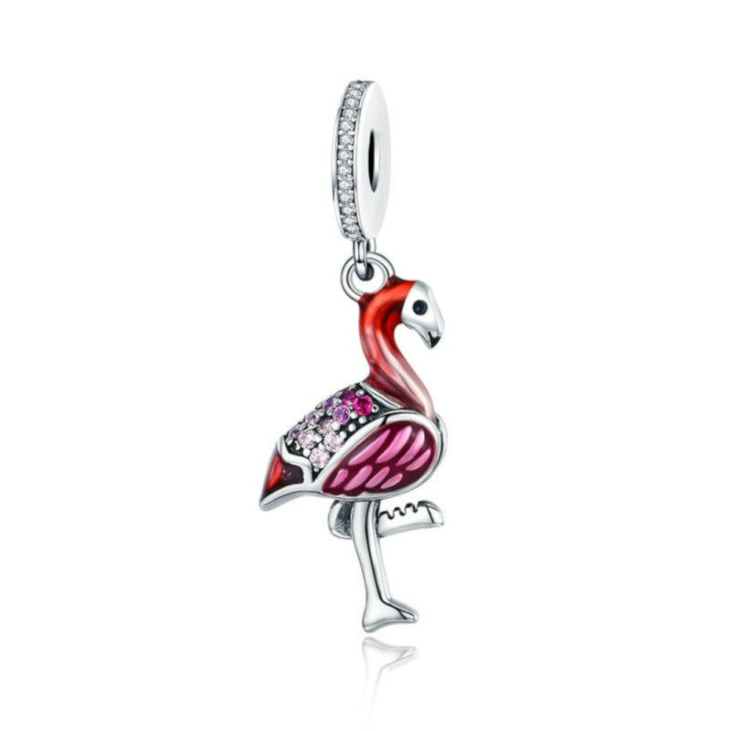 925 Sterling Silver Flamingo Red and Pink Enamel Pandora Compatible Dangle Charm