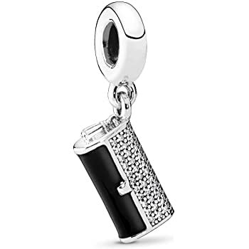 925 Sterling Silver Black Enamel Clutch Bag Pandora Compatible Dangle Charm