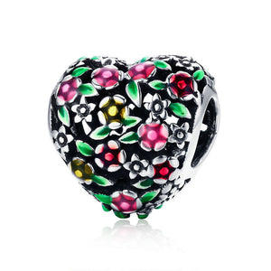 925 Sterling Silver Valley of Flowers Colourful Heart Pandora Compatible Bead Charm