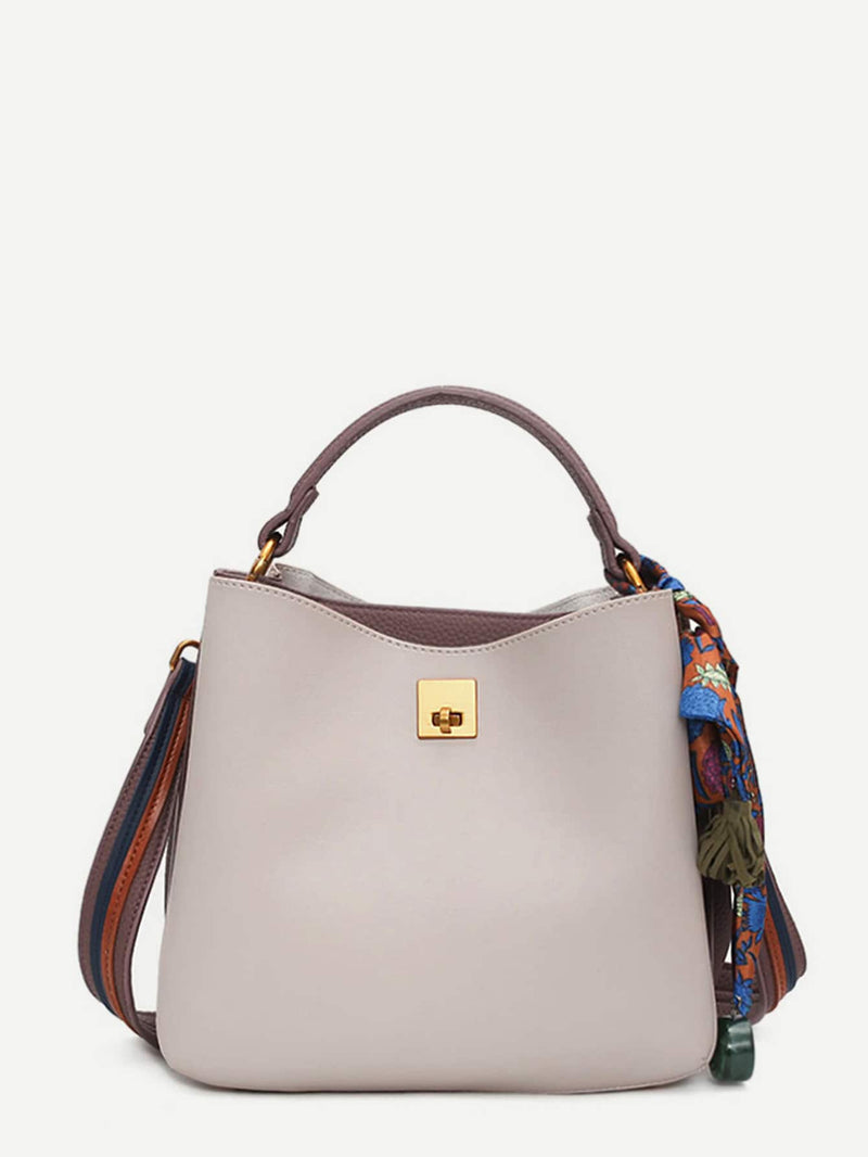 Aurelie's Ribboned Bucket Shoulder Tote Bag (Beige)