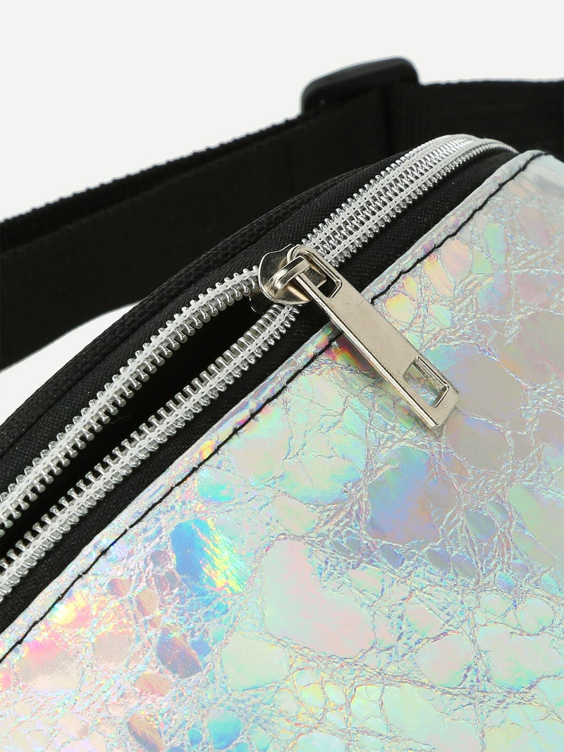 Bella Iridescent Fanny Pack With Skinny Belt