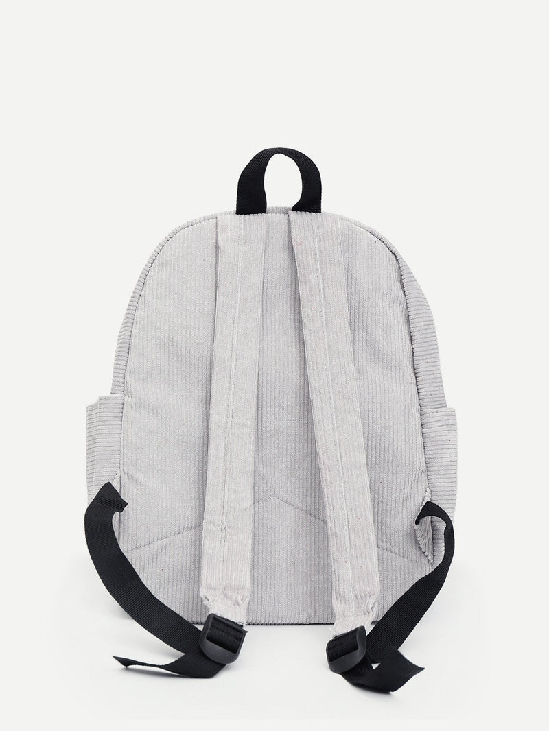 Sophia Corduroy Backpack (White)