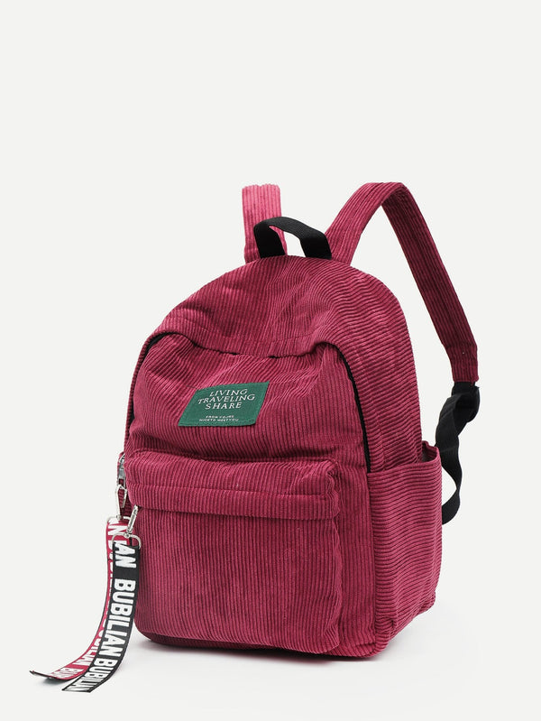 Sophia Corduroy Backpack (Red)