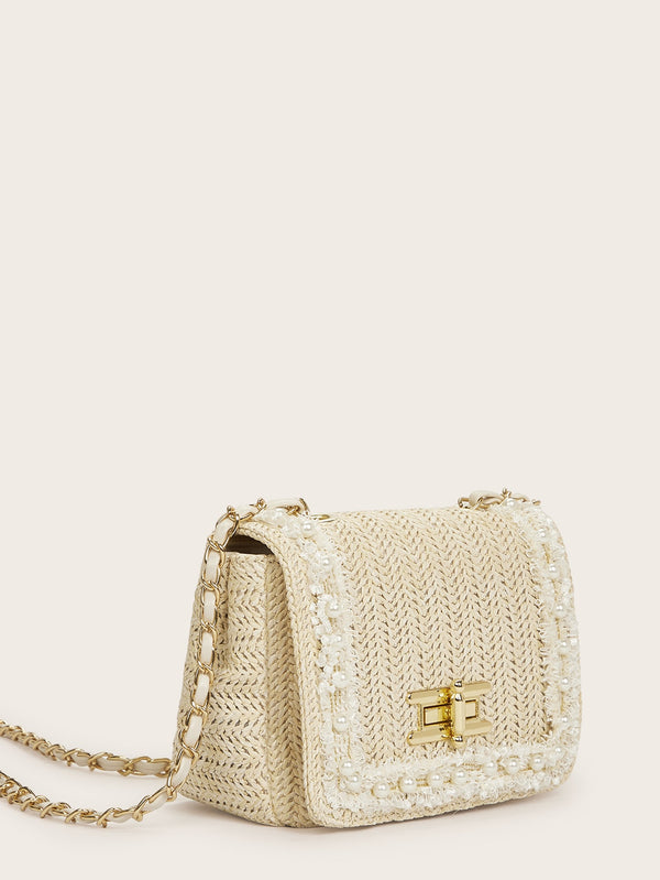 Penny's Embroidered Pearl Straw Shoulder Bag