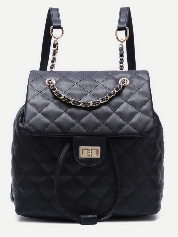 Adelle Leather Black Quilted Backpack