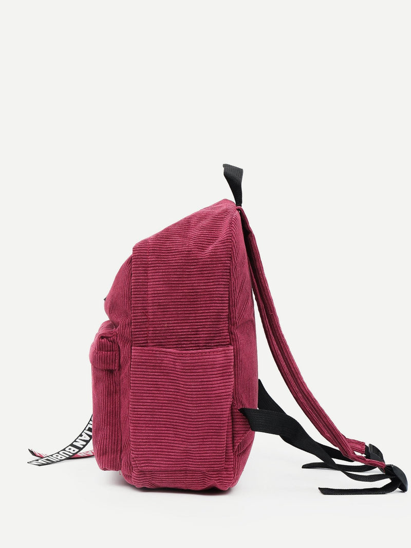 Sophia Corduroy School Backpack (Red)