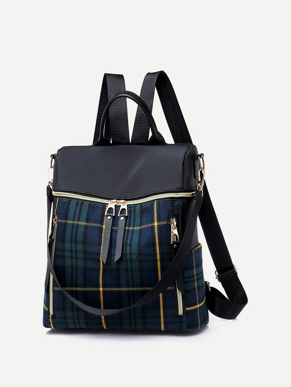 Delphine Green & Blue Front zip Backpack