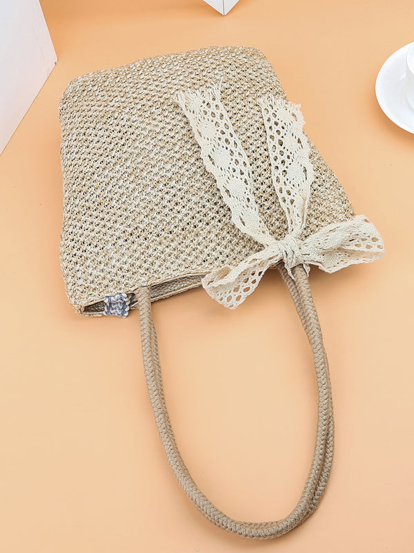 Ivy's Bow Tie Decor Woven Tote Bag